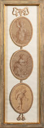 French School, 18th Century Style      Pair of Trompe l'Oeil Three-drop Panels
