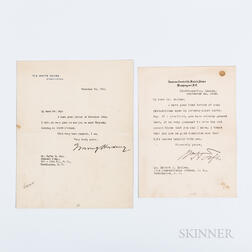 Taft, William H. (1857-1930) and Harding, Warren G. (1865-1923) Typed Letters Signed.