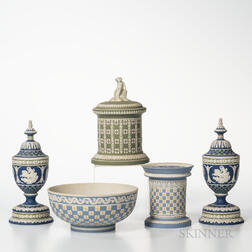 Five Modern Wedgwood Tricolor Diceware Jasper Items