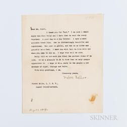 Keller, Helen (1880-1968) Typed Letter Signed, Forest Hills, New York, 27 August 1919.