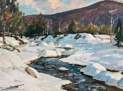 Aldro Thompson Hibbard (American, 1886-1972)      Winding Stream with Snowy Banks