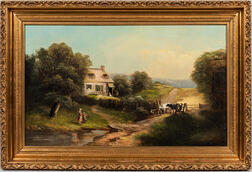 Anglo/American School, 19th Century      Farmstead with Cows and Children by a Stream