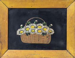 Framed Oil on Tin Painting of a Basket of Daisies