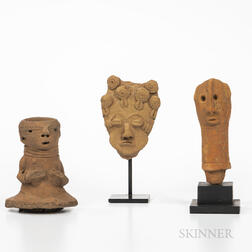 Three Terra-cotta Heads and Torso